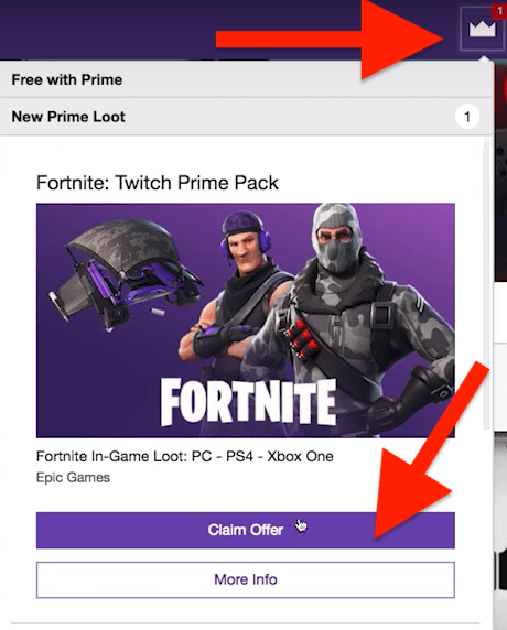 claim fortnite twitch prime pack offer